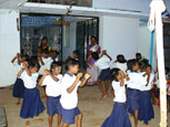 The children enjoy dancing and group activties